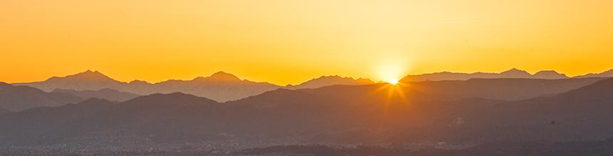 信州五岳に沈む夕日